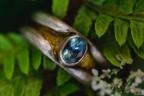 Silberring mit Aquamarin & Blattgold