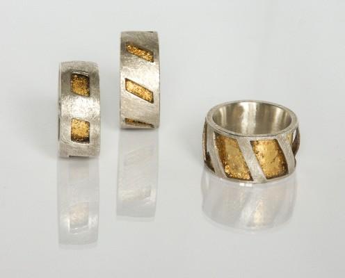 Golden rings aus Silber mit Blattgold - Preis: 185,-€ pro Ring