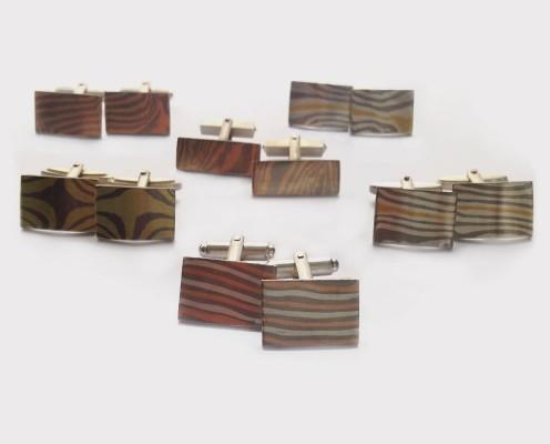 Mokume Gane Manschettenknöpfe mit verschiedenen Metallverbindungen - Preis: ab 165,-€/Paar